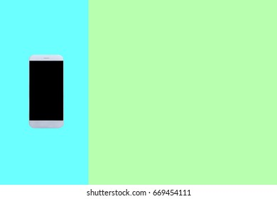 Smart phone,mobile phone technology with black screen on blue and green background