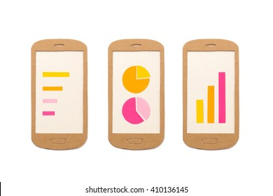 Smart phones with different charts - useful image for analytic apps, financial report, app development