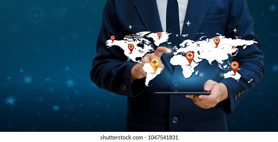 Smart Phones and Globe Connections Uncommon communication world Internet Businesspeople press the phone to communicate in the Internet. Communications, logistics, world maps and aircraft