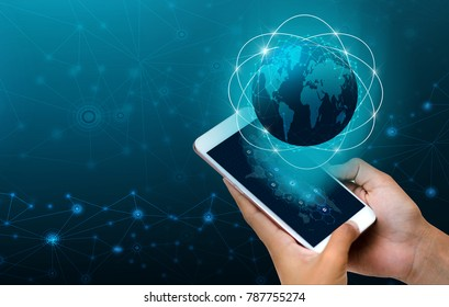 Smart Phones and Globe Connections Uncommon communication world Internet Businesspeople press the phone to communicate in the Internet. Space put message Blue tone