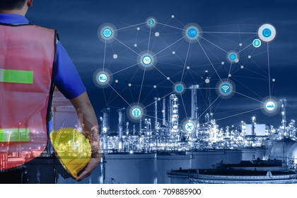 Smart refinery factory and wireless communication network, oil and gas industry petrochemical plant, Internet of Things concept  of fast or instant shipping, Online goods orders worldwide
