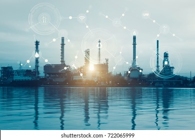 Smart refinery factory and wireless communication social network, physical system icons diagram on industrial factory and infrastructure image background.