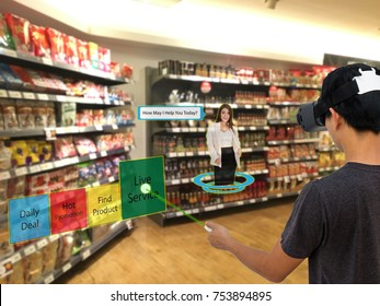 Smart retail with augmented and virtual reality technology concept, Customer use ar and vr glasses to search a daily deal (sale, low price)in the retail