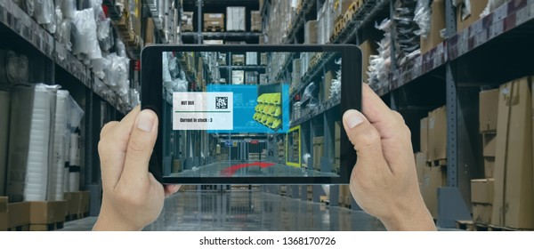 smart retail concept, A customer can check what data of real time insights into shelf status which report on a tablet from artificial intelligence(ai) smart tablet while scanning goods, price