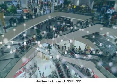 smart retail concept with machine, deep learning, neural network technology, the artificial intelligence network in smart store to disrupt