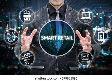 Smart retail and omni channel concept. Man business suit hand , Electric circuit graphic and info graphic of smart retail technology icons.