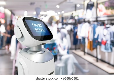 Smart retail sales and crm robot assistant or adviser technology concept. Robo-advisor display text on screen with blur shopping fashion mall background. Copy space.