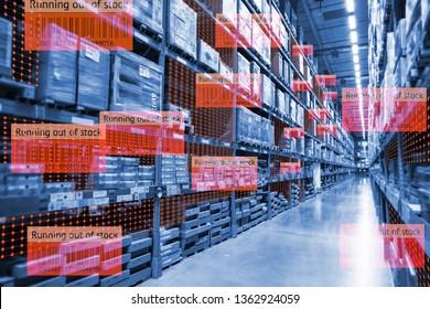 Intelligente Retail-Nutzung der erweiterten Realität gemischte virtuelle Realität Technologie, um die Datenanalyse zu zeigen, halten große Daten im Blick, wenn das Produkt im Smart Warehouse nicht mehr vorrätig ist.