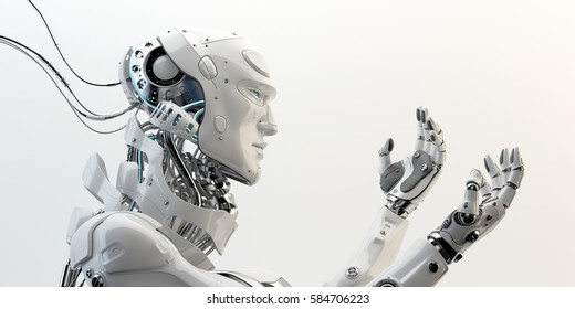 Smart robot with unique neck structure and stretched arms in side,  3d rendering
