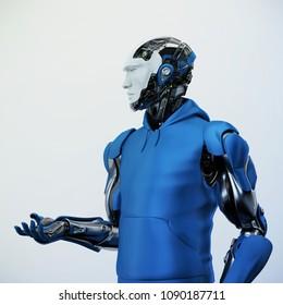 Smart robotic sci-fi man in clothes, 3d illustration