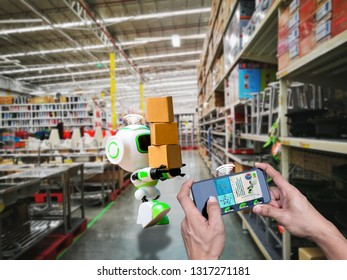 Smart robotic wifi control technology holding industry the box or robots working instead of humans