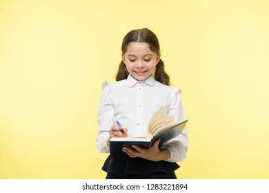 Smart school girl. childrens day. small girl child. private teaching. Education online. happy little girl in school uniform. Back to school. Childhood happiness. School curriculum.