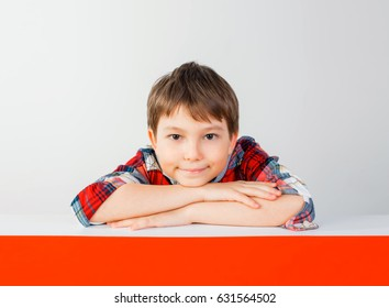 Smart schoolboy at the table