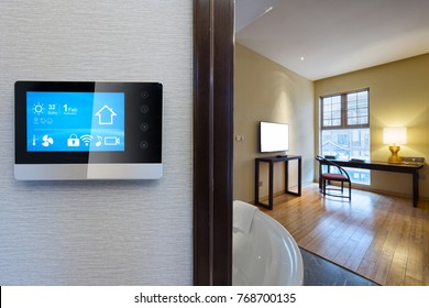 smart screen with smart home and modern bathroom