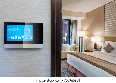 smart screen with smart home and modern bedroom