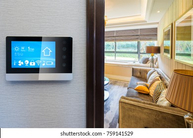 smart screen with smart home and modern living room