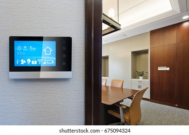 smart screen on wall in modern meeting room
