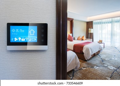 smart screen on wall and modern twin bed room