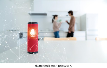 Smart speaker concept. AI speaker. Voice recognition.