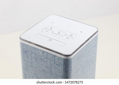 Smart speaker with voice assistant incorporated. Voiced controlled intelligent AI.
