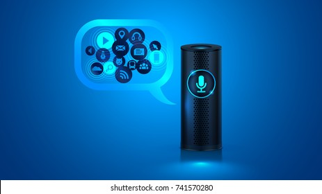 Smart speaker with voice control. Voice control of your smart home. Smart speaker reports the news, plays music, answers questions.
