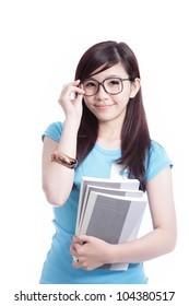 Smart Student girl holding book isolated on white background, model is a asian woman