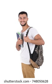 Smart Student holding his notebooks and wearing a backpack. Isolated on white background.