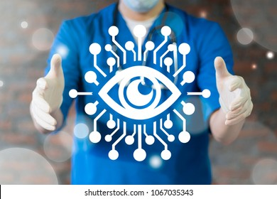 Smart Super Vision Surveillance Ai Medical Information Technology concept. Supervision Observation. Physician offers circuit board eye icon on a virtual interface. Ophthalmology.