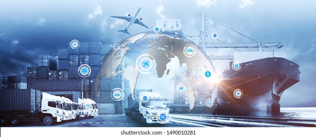Smart technology concept with global logistics partnership Industrial Container Cargo freight ship, internet of things Concept of fast or instant shipping, Online goods orders worldwide - Shutterstock ID 1490010281