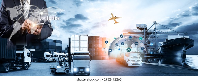 Smart technology concept with global logistics partnership Industrial Container Cargo freight ship, internet of things Concept of fast or instant shipping, Online goods orders worldwide - Shutterstock ID 1932472265