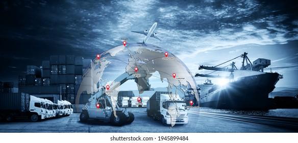 Intelligentes Technologiekonzept mit globaler Logistikpartnerschaft Industrieller Container Frachtschiff, Internet der Dinge Konzept des schnellen oder sofortigen Transports, Online-Warenbestellungen weltweit