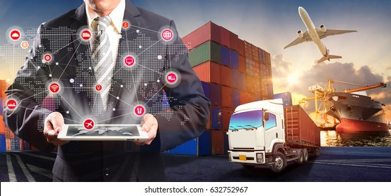 Smart technology concept with global logistics partnership and transportation of Container Cargo ship and Cargo plane for Concept of fast or instant shipping, Online goods orders worldwide