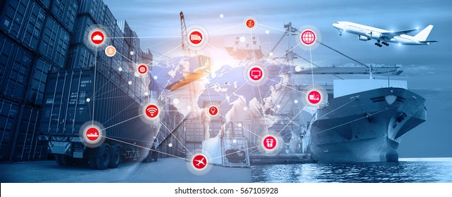 Smart technology with global logistics partnership and transportation of Container Cargo ship and Cargo plane, import export background, Online goods orders worldwide Internet of Things concept