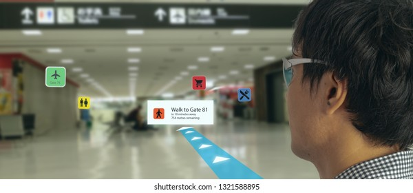 smart technology in industry mobile 4.0 or 5.0 concept , user use smart glasses with augmented mixed virtual reality technology in real 3d for show the map,shop,  and walk way path to gate in airport