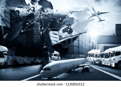 Smart technology logistics concept with global logistics partnership Industrial Container Cargo freight ship, internet of things Concept of fast or instant shipping, Online goods orders worldwide