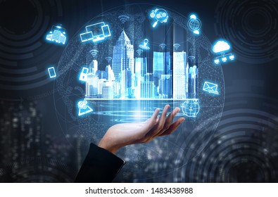 Smart technology in modern city communication with graphic interface showing concept of digital transformation, internet of things (IOT), smart wireless and information communication technology (ICT).