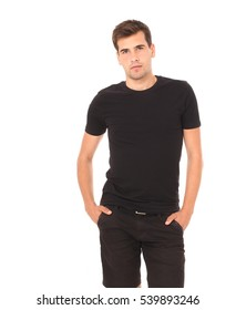 Smart thinking young man in black shirt isolated on white. Copy space and mock up.