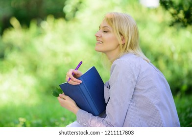 Smart time management. Save your time. Time management skill. Girl with business diary create her daily schedule. Woman relax nature background. Save time for relax. Create break for yourself.