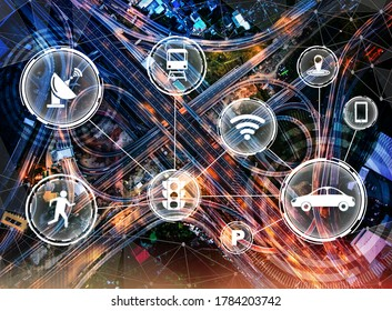 Smart transport technology concept for future car traffic on road . Virtual intelligent system makes digital information analysis to connect data of vehicle on city street . Futuristic innovation .