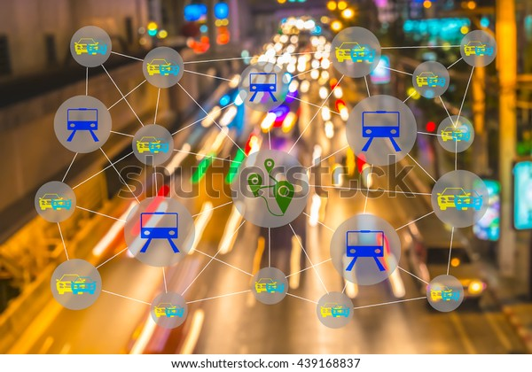 Smart transportation concept. Sharing economy and collaborative consumption. Car , train and GPS icons connected together against abstract city street light background.