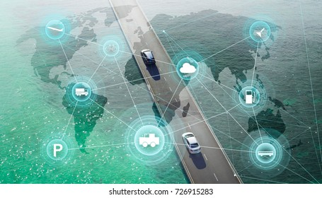 Smart transportation and intelligent communication network of things ,wireless connection technologies for business .