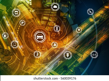 Smart transportation technology concept, smart city, Internet of things, vehicle to vehicle, vehicle to infrastructure, vehicle to pedestrian, abstract image visual