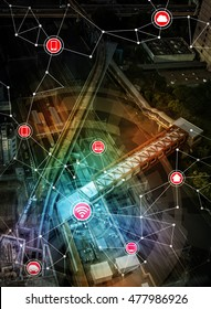 smart transportation and wireless communication network, Internet of Things, abstract image visual