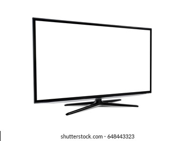 Smart TV with blank screen isolated on white background
