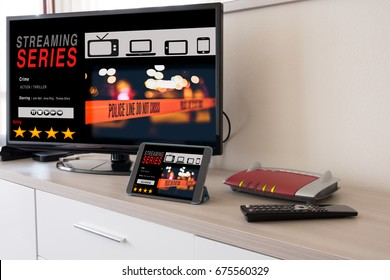 Smart tv and digital tablet connected to the internet modem network
