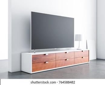 Smart Tv Mockup on wooden bureau console in living room. 3d rendering