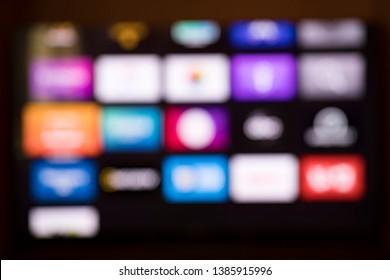Smart tv screen apps blur background