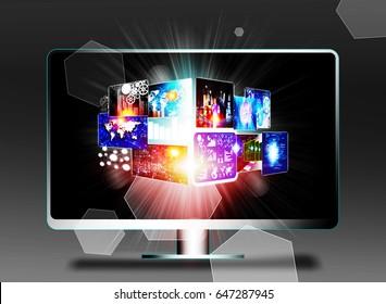 Smart tv showing tv channels . 3d illustration