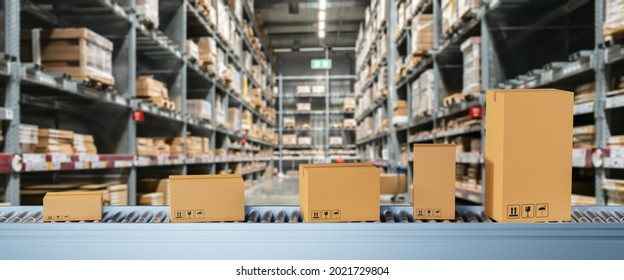Smart warehouse management system concept.Cardboard boxes on conveyor rollers ready to be shipped by courier for distribution in warehouse.Huge distribution warehouse with high shelves and loaders.