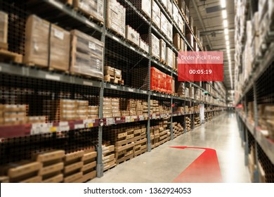 Smart warehouse use augmented reality mixed virtual reality technology ,AR glasses navigation application to pickup the order real time insights into shelf status from artificial intelligence(ai).